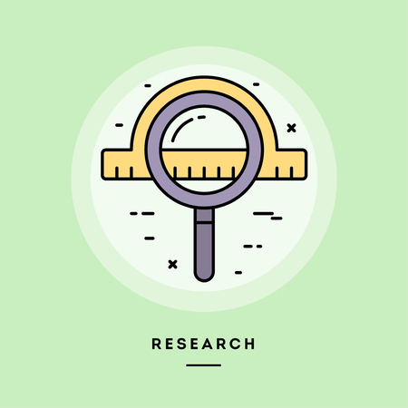 Research, flat design thin line banner, usage for e-mail newsletters, web banners, headers, blog posts, print and more. Vector illustration. Ilustrace