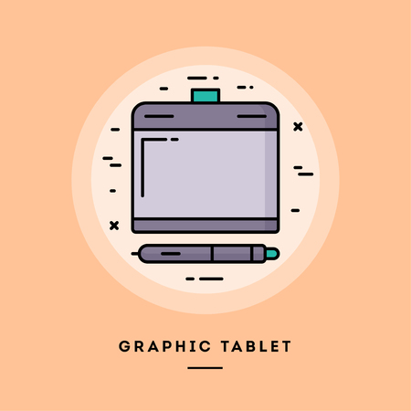 Graphic tablet, flat design thin line banner, usage for e-mail newsletters, web banners, headers, blog posts, print and more. Vector illustration.