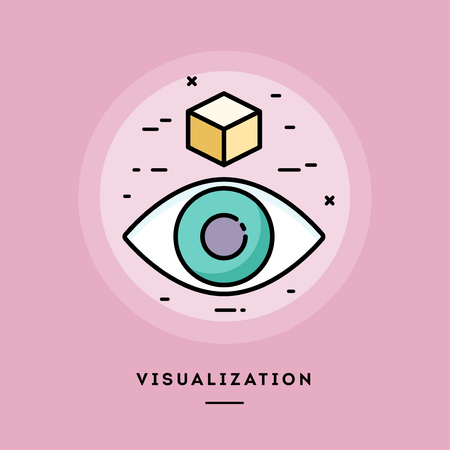 Visualization, flat design thin line banner, usage for e-mail newsletters, web banners, headers, blog posts, print and more. Vector illustration.