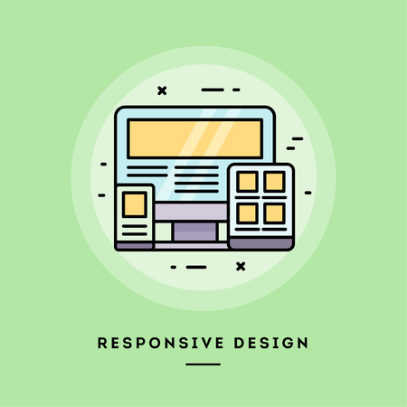Responsive design, flat design thin line banner, usage for e-mail newsletters, web banners, headers, blog posts, print and more. Vector illustration. Reklamní fotografie