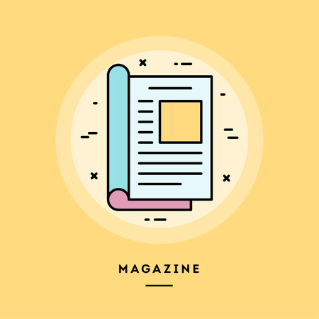 Magazine, flat design thin line banner, usage for e-mail newsletters, web banners, headers, blog posts, print and more. Vector illustration.