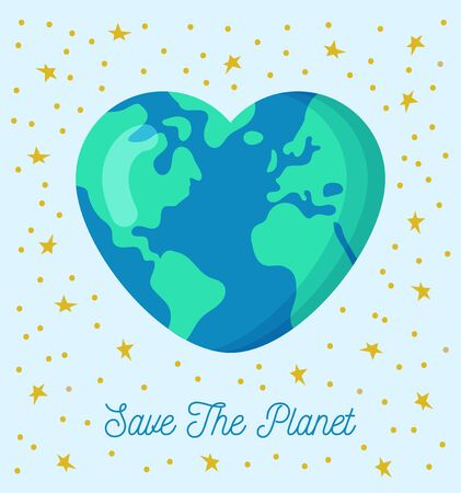 Heart shaped Earth. Save the planet.