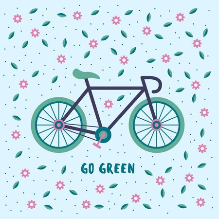 Go green, bicycle on a floral background. Environmental conservation concept.