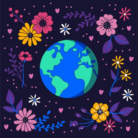 Earth in space surrounded by flowers. Floral background. Environmental conservation concept. Ilustrace