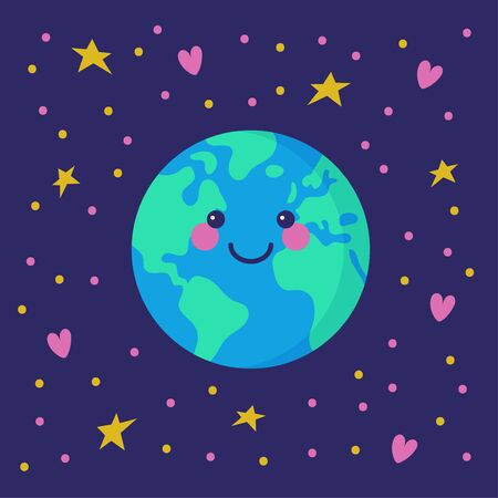 Happy smiling Earth, floating in space among stars and hearts.