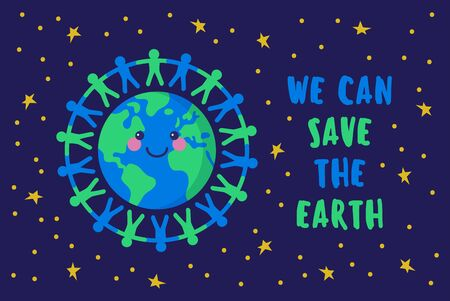 We can save the Earth. People holding hands around the planet. Ilustrace