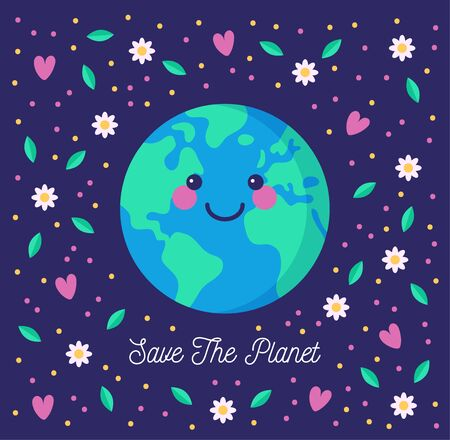 Save the planet. Environmental conservation concept. Cute smiling Earth, floating among flowers and hearts.