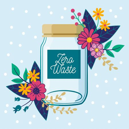 Zero Waste concept. Empty glass jar, with floral composition.  イラスト・ベクター素材