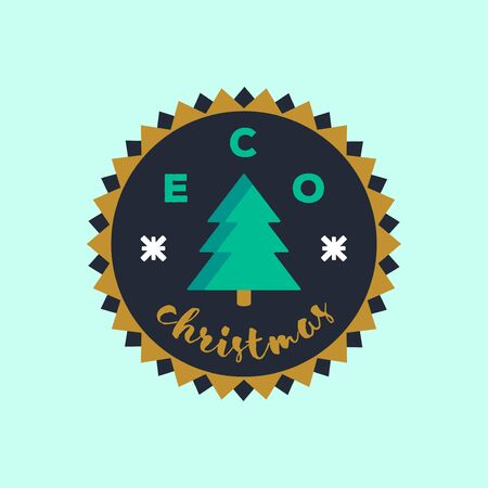 Eco Christmas badge sticker. Environmental conservation concept.