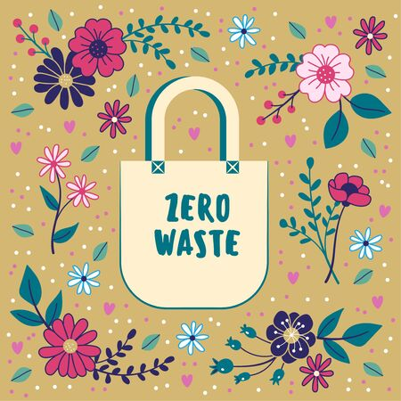 Zero waste concept. Cotton bag on a floral background. Sustainability. Ilustrace