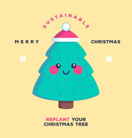 Replant your Christmas tree. Happy Holidays. Environmentally friendly and sustainability concept. Vector illustration. Ilustrace