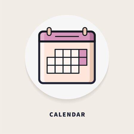 Calendar, flat design thin line banner.