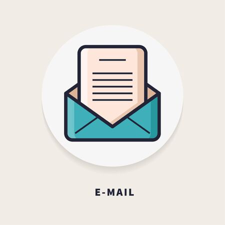 E-mail, flat design thin line banner,