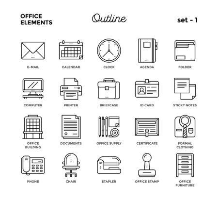 Elementy biurowe. Cienka linia styl, zestaw ikon. Ilustracje wektorowe