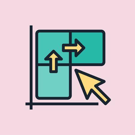 Clickthrough rate. Digital marketing concept illustration, flat design linear style banner. Ilustração