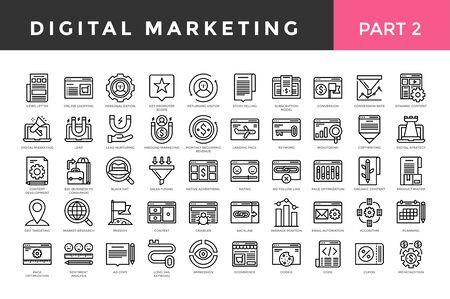 Digital marketing icons, thin line style, big set. Part two. Vector illustration Vektorové ilustrace