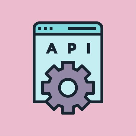 API. Digital marketing concept illustration, flat design linear style banner. Usage for e-mail newsletters, headers, blog posts, print and more.