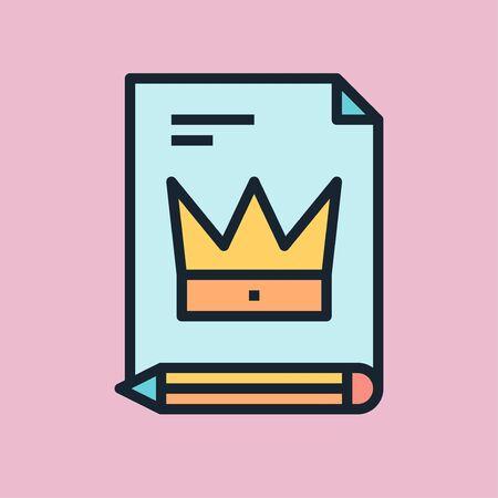 Premium content. Digital marketing concept illustration, flat design linear style banner. 向量圖像