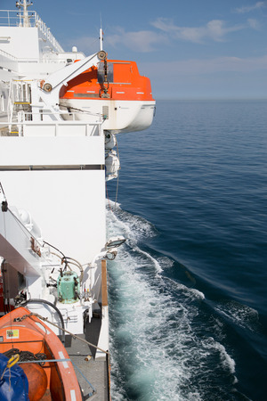 discovery channel: Lifeboat on the ship in britsh channel Stock Photo