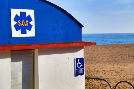 handicapped accessible: SOS station handicapped accessible on the beach. Stock Photo