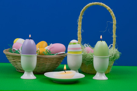 easter candle: Easter eggs with beautiful motive and candle.