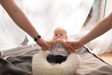 nursling: newborn baby in the basket. Stock Photo