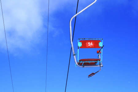 A photo of a chair lift at mountain resort Stock Photo