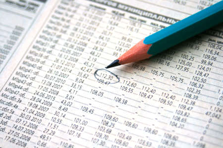 stock chart with a pencil mark photo