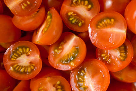 a close-up photo of cutted cherry tomatoes