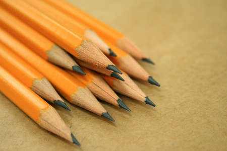 A photo of a pencils on a list of paper Stock Photo