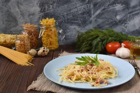 Fusilli, finchillo, rigatoni, farfalle, penne pasta. Dinner. Healthy food.