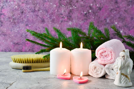 Christmas Spa composition, candles, body brush and towels.