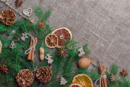 Mulled wine ingredients on a wooden background. Christmas card. Top View Flatlay Layout