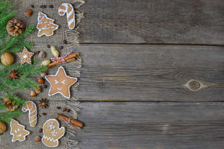Ginger cookies with ingredients. Christmas composition.