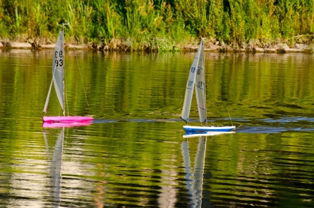 Two model sailboats Stock Photo