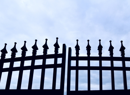 iron gate: Black wrought-iron gate Stock Photo