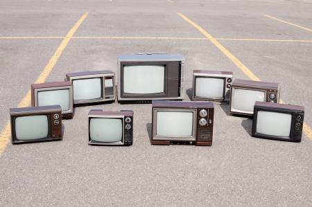 오래된 TV 세트의 컬렉션 스톡 콘텐츠