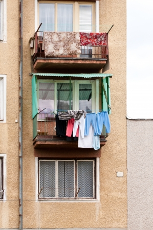 Apartment balconies with laundry