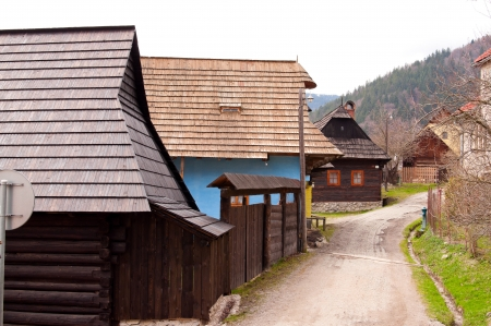 Street with wooden houses Stock Photo