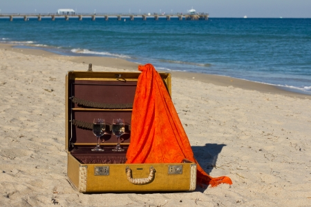 Vintage suitcase with two wine glasses and an orange scarf Reklamní fotografie