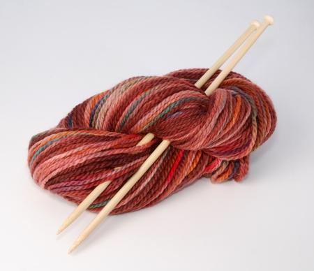 Knitting yarn with needles Stok Fotoğraf