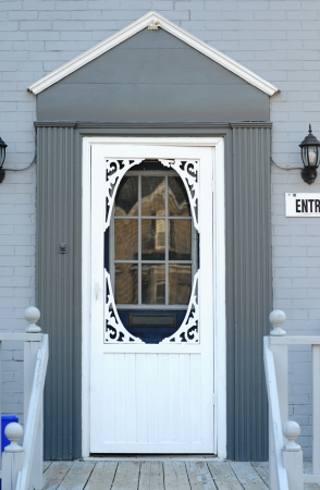 white trim: White Front Door Stock Photo