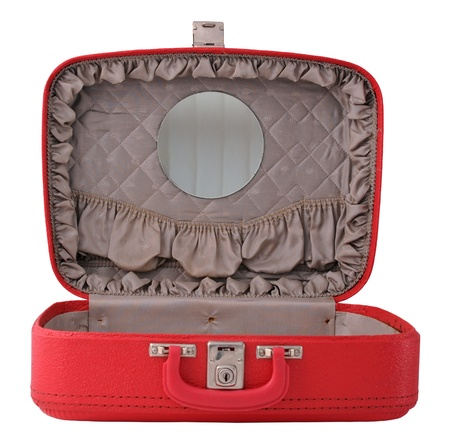 frau mit koffer: Er�ffnet Red Travel Case