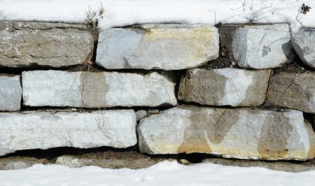 retaining: Retaining Stone Wall In Winter Stock Photo