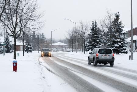 winter road: Winter Driving Stock Photo