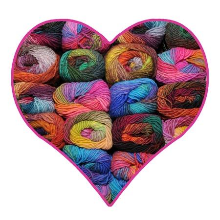 colrful:     Valentine heart made of colrful knitting yarn