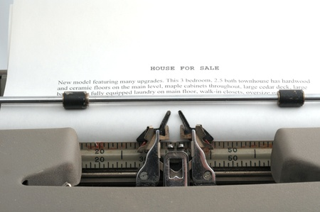 House Sales Ad typed on old typewriter Stock Photo - 16489164