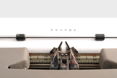 Resume typed on an old typewriter Stock Photo - 16491360