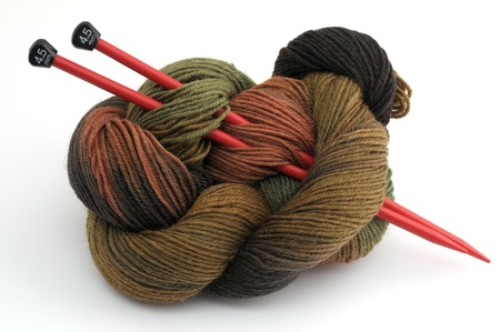 Ball of camouflage-colored knitting yarn