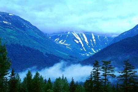 Alaska mountains in evening light